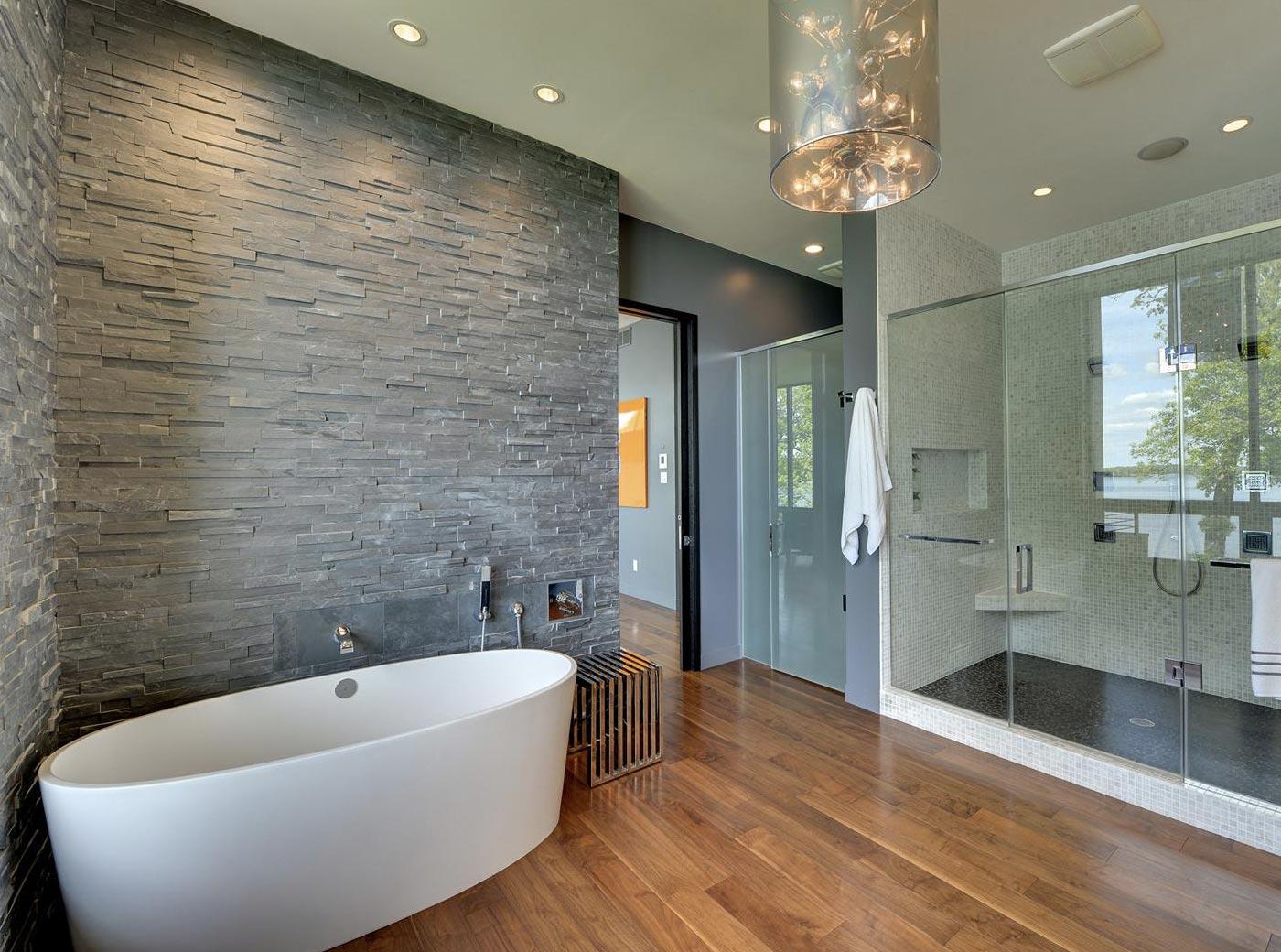 Дизайн ванной комнаты с отделкойплиткой